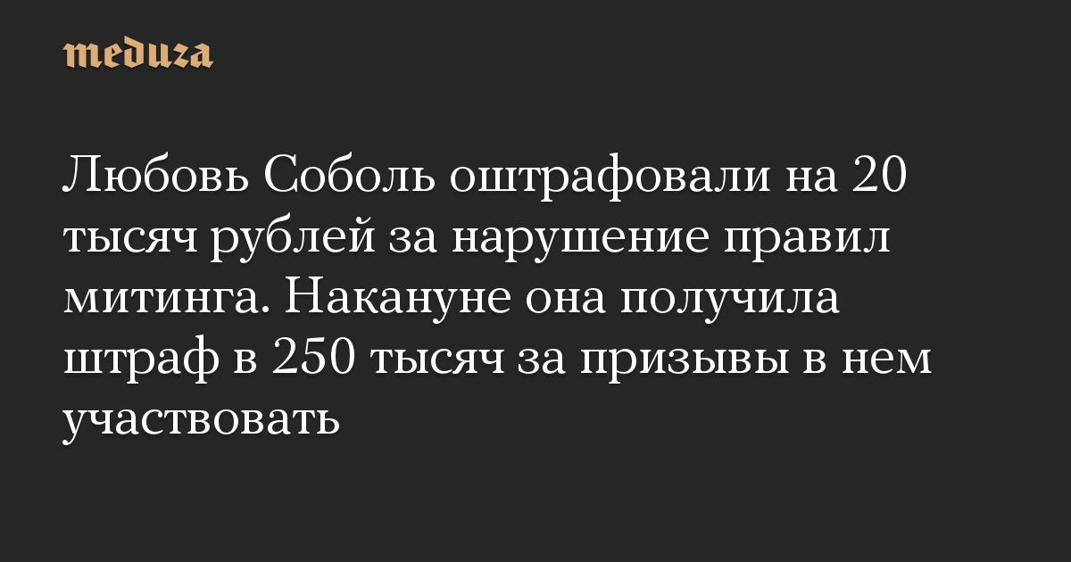 Любовь Соболь оштрафовали на 20 тысяч рублей за нарушение правил митинга. Накануне она получила штраф в 250 тысяч за призывы в нем участвовать